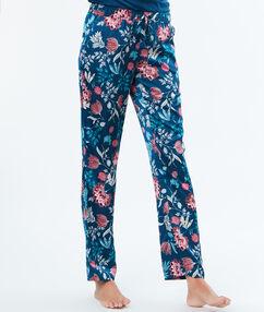 Атласные брюки с принтом синий.