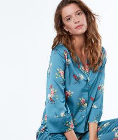 Мужская пижамная рубашка с цветочным принтом синий.