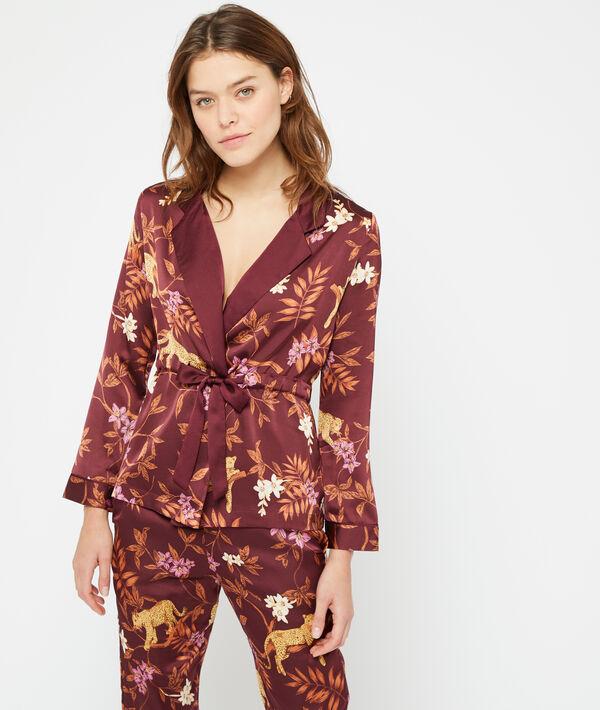 Пижамная рубашка с принтом 'леопард' - JAMEELA - Бордовый - M фото