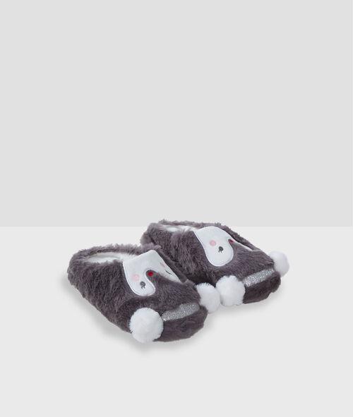 Тапочки с открытым задником из искусственного меха «пингвины»
