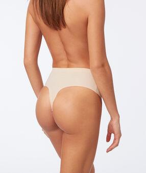 Трусики-стринги с высокой посадкой - уровень 3 : смоделированный силуэт телесный.