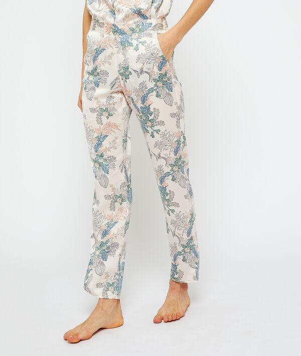 Атласные брюки с цветочным принтом - ARYS - Белый - XL