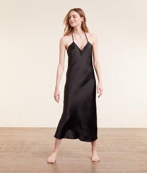 Атласное платье-комбинация с открытой спинкой;${refinementColor}