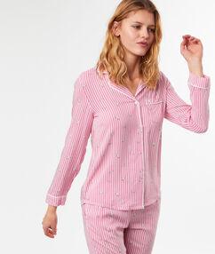 Пижамная рубашка в полоску с принтом в виде кошек розовый.