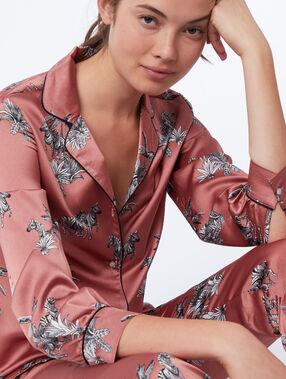 Пижамная рубашка с принтом с зебрами розовый.