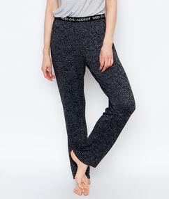 Домашние брюки из вязаного меланжа чёрный.