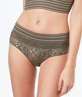 Кружевные трусы-шорты с эластичными полосами хаки.