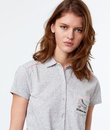 Пижамная рубашка в мужском стиле с принтом на завязках серый.