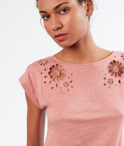 Ажурная футболка розовый.