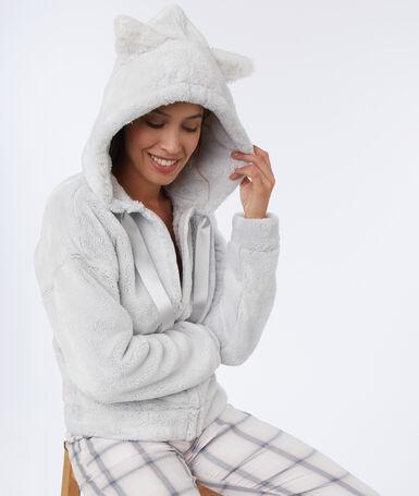 Домашняя куртка с кошачьими ушками светло-серый.