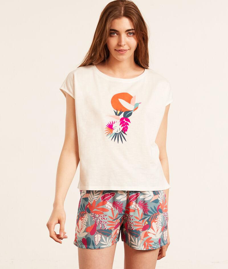 Хлопковая футболка с тропическим принтом;${refinementColor}