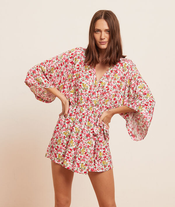 Халат-кимоно с цветочным принтом;${refinementColor}