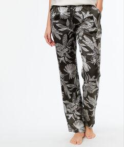 Атласные брюки с принтом тёмно-оливковый.