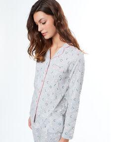 Рубашка в мужском стиле с принтом love cats серый.