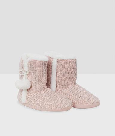 Тапочки-полусапожки с помпонами розовый.