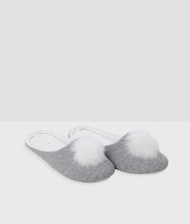 Тапочки без задника с кисточкой серый.