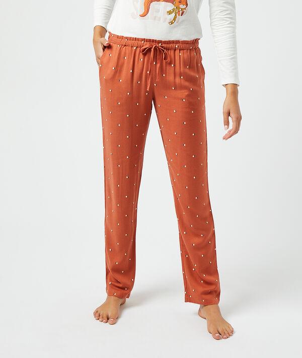 Пижамные брюки в горошек - NOE - Кирпичный красный - L