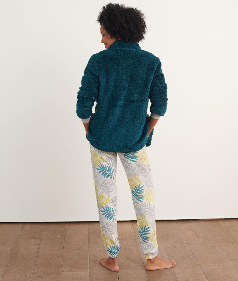 Хлопковый пижамный комплект с принтом листьев;${refinementColor}