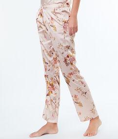 Атласные брюки с цветочным принтом пудровая роза.