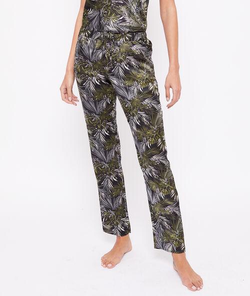 Атласные штаны с принтом в виде листиков