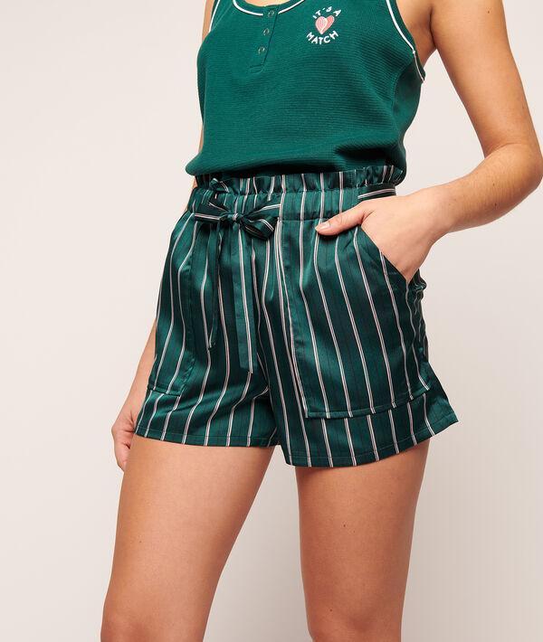 Атласные шорты в полоску - PRESLEY - Зелёный - L