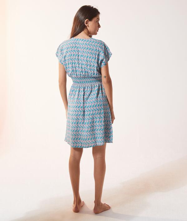 Платье с принтом и сборками на талии;${refinementColor}