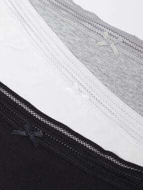 Комплект из 3 трусиков-танга черный / серый / белый.