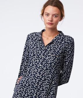 Ночная рубашка с принтом в виде листов темно-синий.