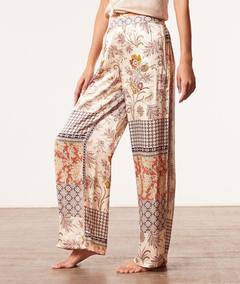Атласные брюки в стиле пэчворк;${refinementColor}