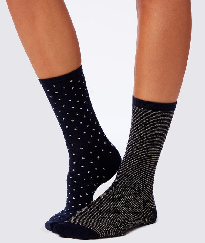 Набор из 2 носков с фантазийным узором темно-синий.