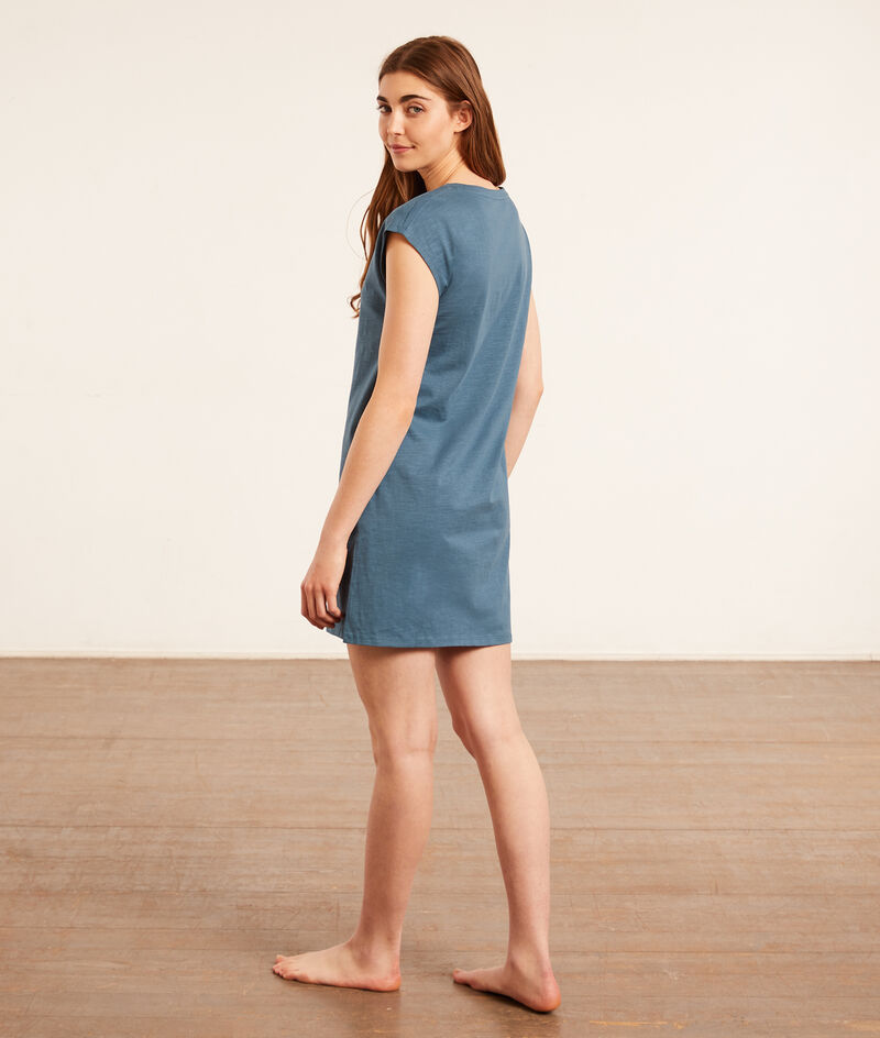 Хлопковое платье-футболка с тропическим принтом;${refinementColor}