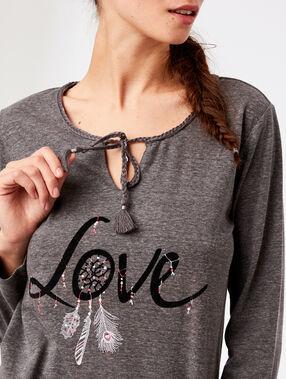 Майка с принтом 'love' и завязками на воротнике темно-серый.