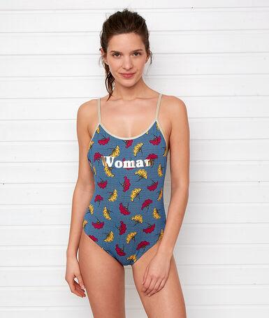 Слитный купальник с стиле 'woman' разноцветный.