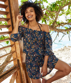 Пляжное платье с открытыми плечами темно-синий с принтом.