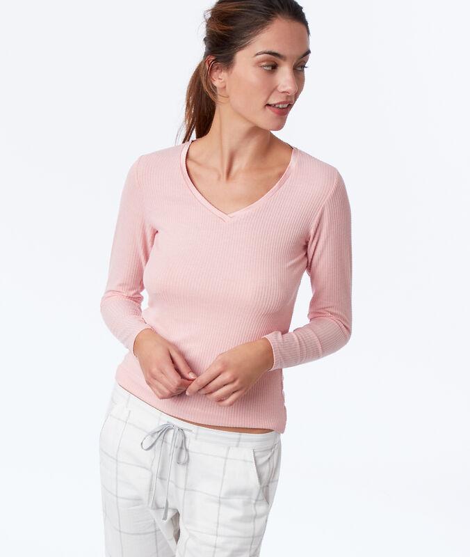 Топ в рубчик с длинными рукавами и атласным декольте розовый.