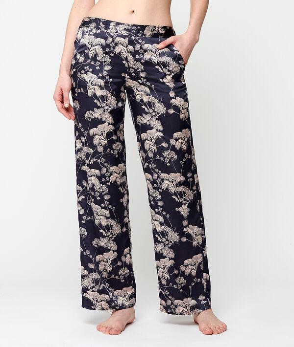 Атласные брюки с цветочным принтом - TOPAZ - Синий - S фото