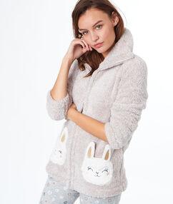 Плюшевая кофта с карманами в виде ламы бежевый.