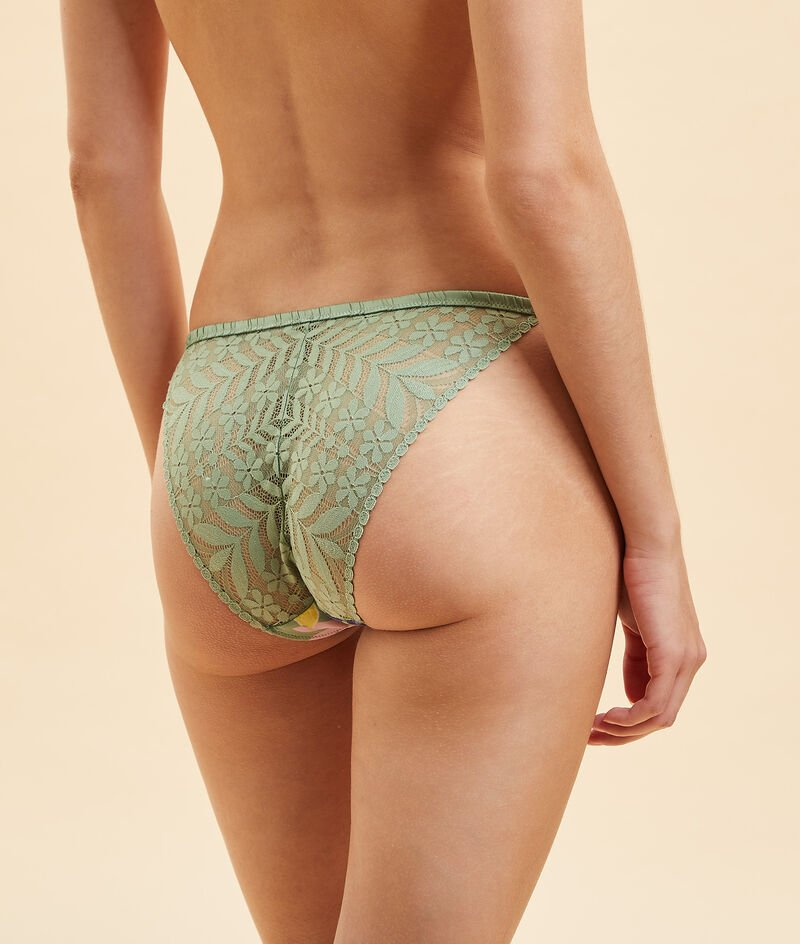 Culotte bikini imprimée dos dentelle;${refinementColor}