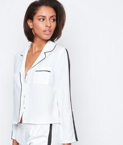 Контрастная пижамная рубашка белый.