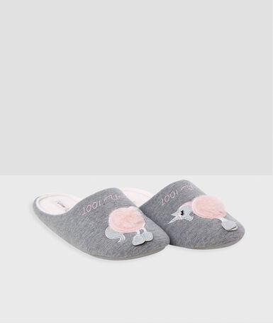 Тапочки с единорогами серый.