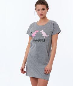 Ночная рубашка с принтом в виде динозавров серый.