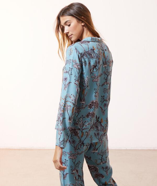 Пижамная рубашка с тропическим принтом;${refinementColor}