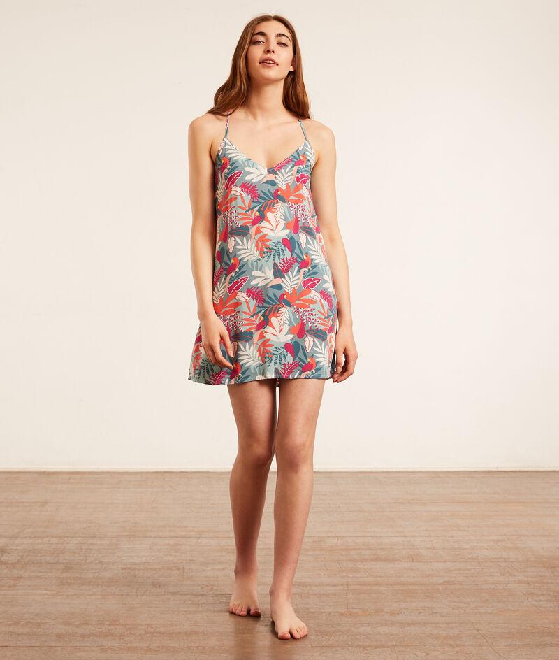 Платье с тропическим принтом;${refinementColor}