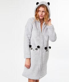 """Плюшевый халат """"панда"""" серый."""