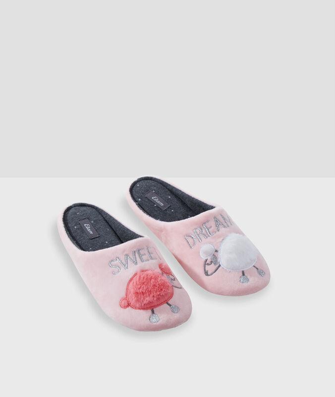Туфли без задника в виде барашка, с надписью розовый.