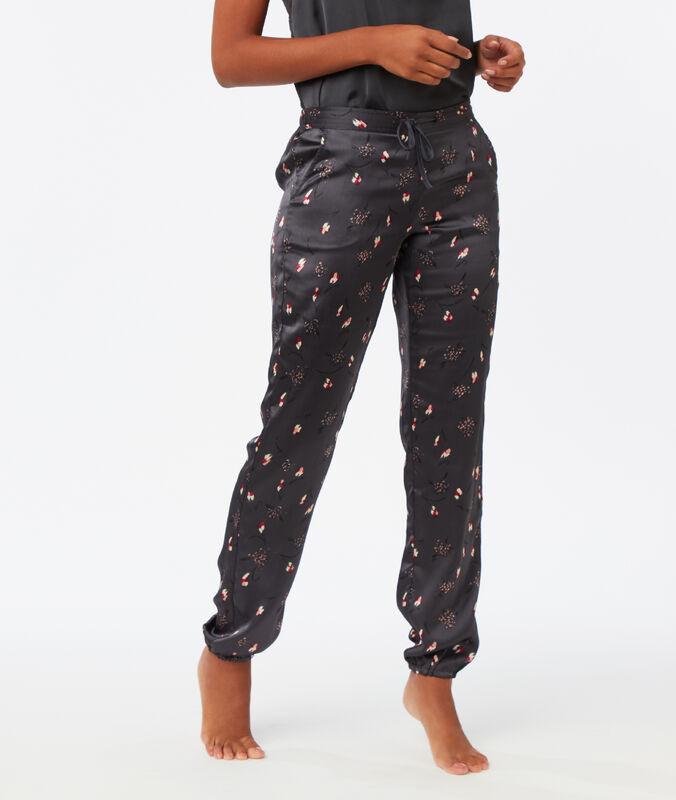 Атласные штаны с принтом серый.
