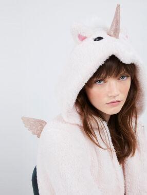 Пижама-комбинезон с единорогом бледно-розовый.