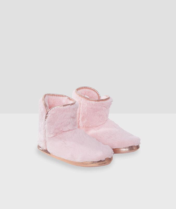 Тапочки-полусапожки с золотистыми деталями розовый.