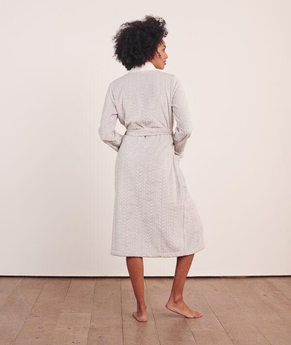 Плюшевый халат с вязкой косичками;${refinementColor}