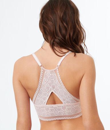 Кружевной бюстгальтер с формой декольте le triangle, без косточек, широкая баска пудрово-розовый.